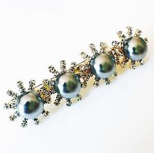 USA Hair Clip Claw Rhinestone Crystal Hairpin Jewel Pearl Fashion Gray 04
