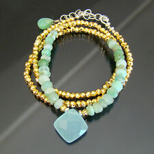 U& Sundance Blue Mint Green Peruvian Opal Gold Pyrite Chalcedony Silver Necklace