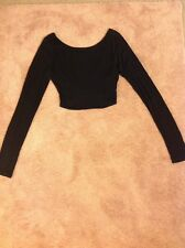 Solemio Los Angeles S Black Long Sleeve Crop Top Criss Cross Back