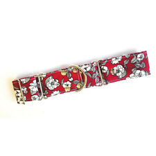 Martingale Dog Collar DEEP RED FLORAL Greyhound Whippet Lurcher Dog Lead