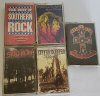 Vintage Lot Of 5 Classic Rock Cassettes Skid Row Guns N Rose's Robert Plant 80s