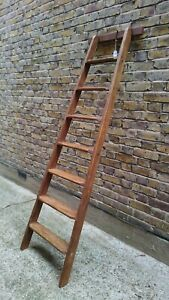 (B)VINTAGE 7 TREAD LIBRARY/SHOP STYLE LADDER - SHELLAC SEALED & WAXED