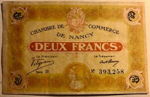 FRANCE - Chambre de Commerce de NANCY - Deux Francs - 11-11-1918