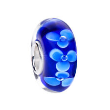 MATERIA Murano Glas Beads Anhänger Blüten 925 Silber blau für Beads Armband