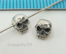 2 x BALI STERLING SILVER SKULL SPACER BEADS 4.8mm x 4.4mm N835