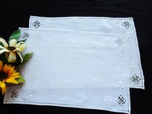 TWO Antique Italian Tray Cloths / Placemats Punto Antico Hand-Embroidery & Lace
