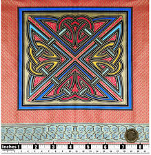 Quilting Fabric 2 Cushion Panels Celtic Knot Design Red Blue Gold Metallic