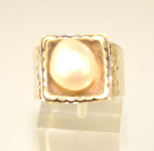 RETIRED SILPADA HANDCRAFTED HAMMERED STERLING SILVER PEARL RING - SIZE 7.5
