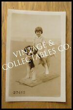 Vintage Antique Dog and Girl Beach Portrait Photograph Rppc Postcard 1930's