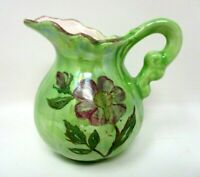 Vintage Creamer Pitcher Green Unmarked Creamer Lusterware Finish