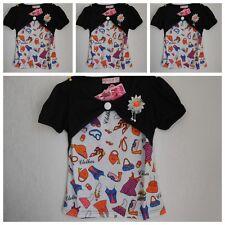Shirt,Mädchen T-Shirt,Kurzarm Shirt, Tunika Bluse Top Schwarz Blume Glitzer