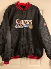 Philadelphia 76ers Sixers Retro Reebok NBA Black Satin Jacket 4XL