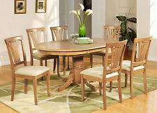 7 Piece dining table set-Oval dinette table with Leaf and 6 Dining Chairs in Oak