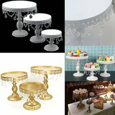 1/3 Gold Crystal Round Cake Stand Display Dessert Holder Wedding Party Ornaments