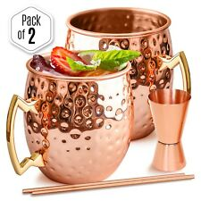 ▶ Benicci Moscow Mule Copper Mugs Pure Solid Copper Mug 16oz Gift Set of