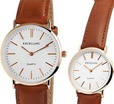 Herren Armbanduhr Weiss/Roségold/Braun Kunstlederarmband von Excellanc