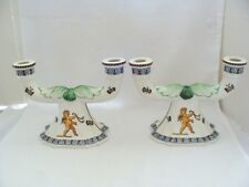 Gien France 2 Light Cherub And Butterfly Candle Holders Pair