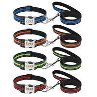 Personalisierte Hundehalsband &Leine Mit Gravur Namen Nylon Reflektierend S M L