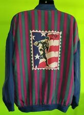 Robert Stock Vintage 100% Silk Baseball Lightweight Jacket - sz XL- fits larger