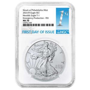 Presale - 2021 (P) $1 American Silver Eagle NGC MS70 Emergency Production FDI Fi