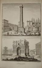 Stampa antica Colonna Trajana Arco Giano Diderot D'Alambert Roma engraving