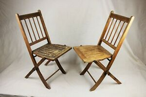 Antique Set of 2 Wooden Slat Spindle Back Folding Chairs Farmhouse Church Style