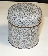 CHINESES FLORAL CLOISONNE WHITE ENAMEL JAR CANISTER HUMIDOR BOX