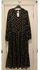 BNWT H&M Black Gold Spot Foil Print Tiered Chiffon Midi  Dress Size 12 Sold Out
