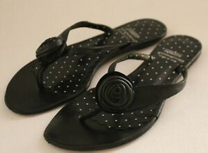 MOSCHINO CHEAP & CHIC ~ Black White Polka Dot Leather Thong Toe Flats EU 36 AU 5