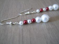Boucles d'Oreille  Blanc/Bordeaux Mariée/Mariage/Soirée (robe de ) perles