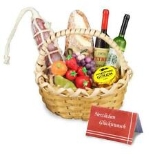 Wine and Cheese Gift Basket Dollhouse Miniature by Reutter Porcelain