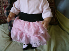 bitty baby girl pink tee/pink lace skirt w black waistband/socks 1112