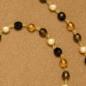 Sunrise spectacle chain - Large amber, pearl and matt black beads on gold links