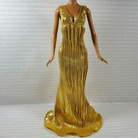 EVENING W ~ DRESS ~ BARBIE DOLL PRINCESS OF THE NILE GOLD PLEATED GOWN ACCESSORY