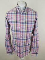 Mens Barbour Check Plaid Shirt Pink Small 38 To 40 Chest Vgc