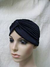 Black Vintage Style Hollywood Turban Hat Bollywood Liz Taylor Genie Flapper Wrap