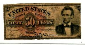 "50 CENT ""FR-1374' (ABRAHAM LINCOLN) 1800'S  50 CENT (ABRAHAM LINCOLN) RARE NOTE!"