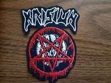 KRISIUN + LOGO,IRON ON WHITE AND RED EMBROIDERED PATCH