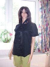 Ralph Lauren Bluse mit Schalkragen schwarz Kurzarm edel Grösse L neu