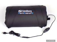 Sandberg 640-85 USB Massage Lordosenstütze Lendenwirbelstütze Gamer Kissen, NEU