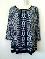 WOMEN'S CROFT & BARROW BLACK WHITE AND BLUE 3/4 SLEEVE TUNIC TOP SIZE M