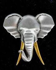 Elegant Elephant Pewter And Golden Tusk Pin Brooche Vintage