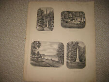 ANTIQUE 1868 COOPERSTOWN SCHUYLER LAKE OTSEGO COUNTY NEW YORK LITHOGRAPH PRINT N