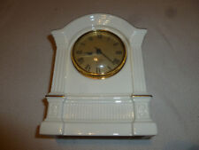 Lenox Creme Quartz Mantle Clock W Gold Trim Tabletop Fine Bone China 24K