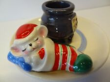 Vintage Avon 1983 Christmas Candle Holder Mouse In Stocking Near Stove