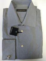 Trend Corneliani Italy Gray Tonal Stripe French Cuff Dress Shirt 15 3/4 40