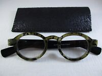 ON THE MOVE Taupe Opaque Tortoise & Black Temple Reading Glasses Soft Case +2.00