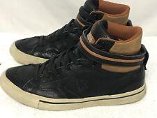 Converse Hi Top All Star Chucks Leather Black Tan Mens 6.5 Womens 8.5 Shoes