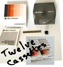 New Lot of 12 Bell & Howell 50' Auto 8 Cassette Super 8mm Film + Instructions