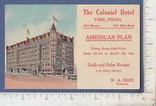 B414 Colonial Hotel, York,  PA c 1905 Acmegraph postcard W. A. Reist
